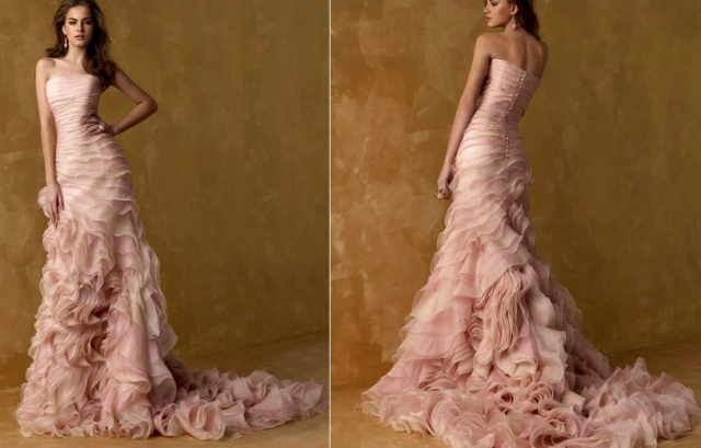 Pink Strapless Mermaid Wedding Dress with Ruffled Chapel Train