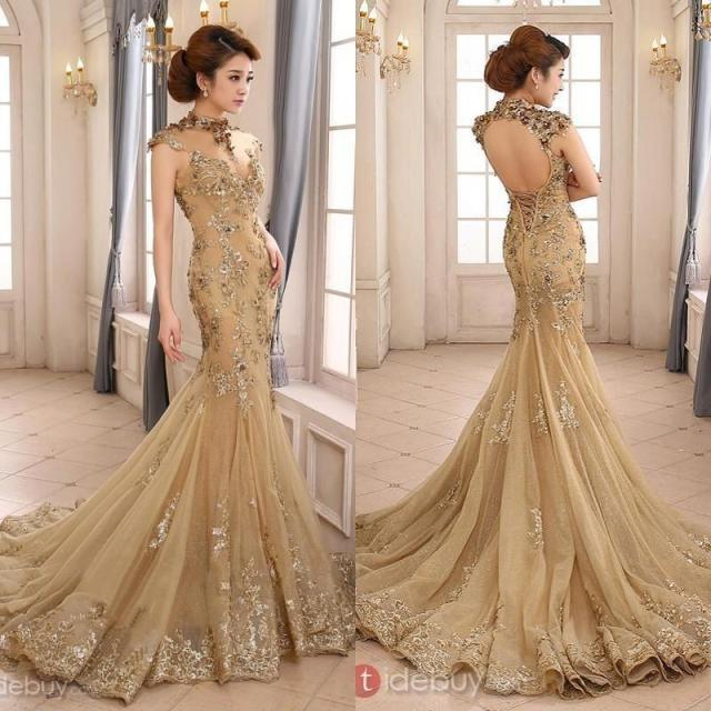 2015 Luxury Gold Mermaid Wedding Dress