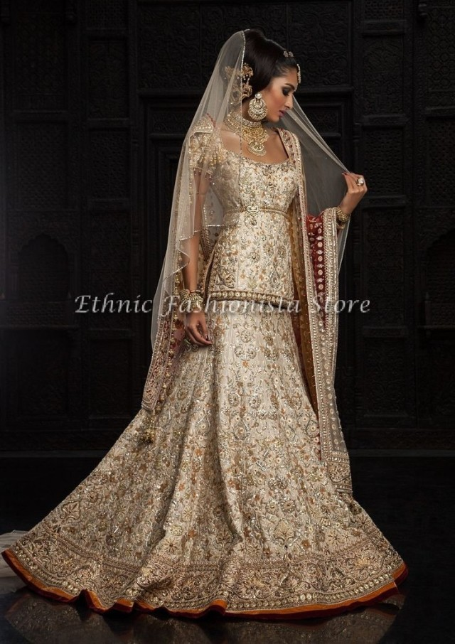 Beautiful White with Gold Embellishment Bridal Lehenga Set