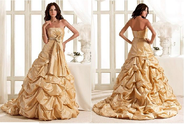 Strapless gold taffeta empire pick-ups with beading pleated flower court train