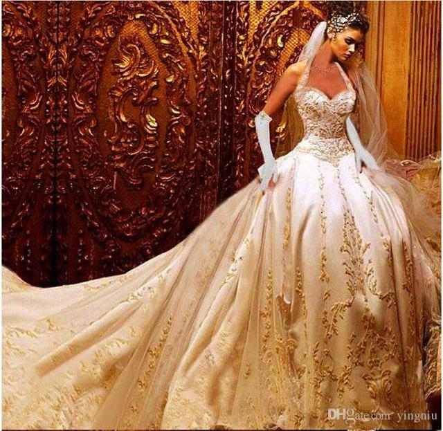 Ivory Satin & Gold Embroidered Halter A-Line Wedding Dresses With Royal Train