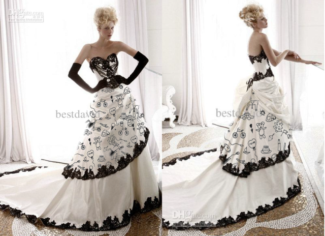 White Sweetheart A-Line Gloves Wedding Dresses With Black Lace Trim Beading Chapel Train Vintage